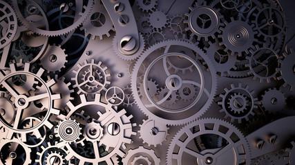 Background with metal cogwheels a clockwork. Macro, extreme closeup clock mechanism