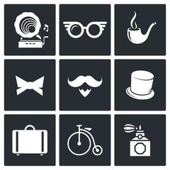 Vintage Hipster Icons set