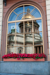 Fototapete - reflection of St Isaac Cathedral, Russia, St Petersburg