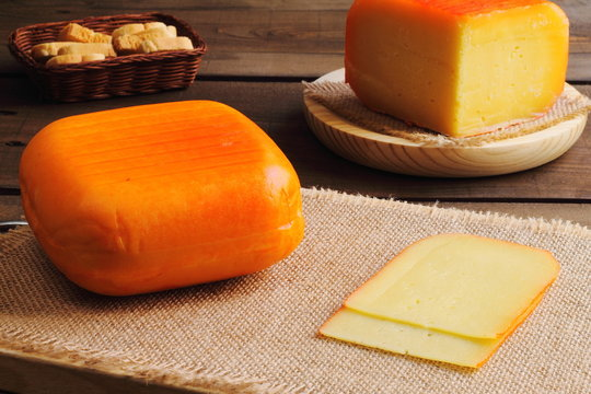 Traditional pieces of semi matured cheese