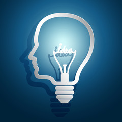 head idea concept with light bulbs on blue background