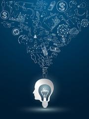 head idea concept with light bulbs on blue background