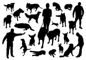 People and dogs silhouettes set