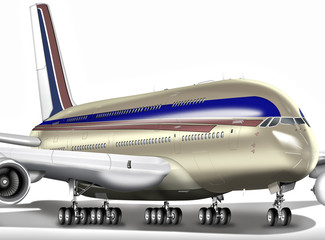 Großraumflugzeug der Superlative freigestellt