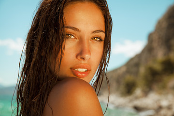 pure woman beauty with wet hair and bright skin.