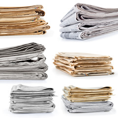 collection or set stack newspapers on white background
