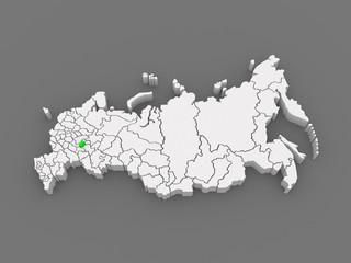 Map of the Russian Federation. Republic of Chuvashia.