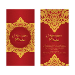 two greeting cards in east style on red background