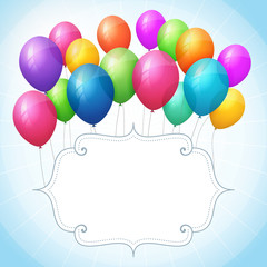 empty birthday blue vector background with colorful balloons