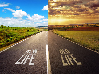 Concept of straight road with options, choise and decision.
