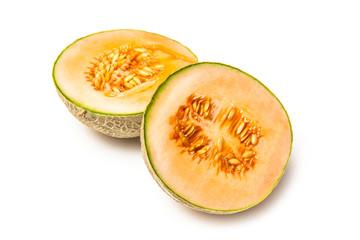 Canteloupe melon fruit (Cucumis melo)