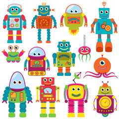 Door stickers Monster Vector Collection of Colorful Retro Robots