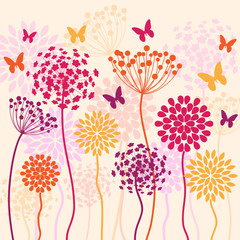 summer colorful vector background with flowers and butterflies