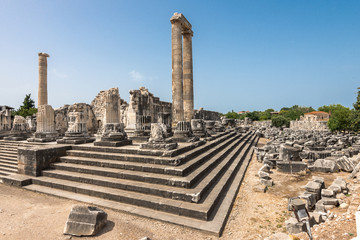 View of  giant columns of ancient Apollo temple in Didyma