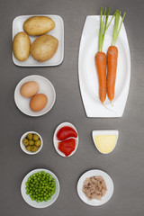 Ingredients for typical ensaladilla