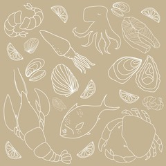 Set of hand drawn elements seafood. Vector illustration.