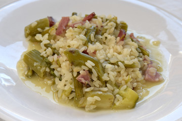 risotto with asparagus and bacon