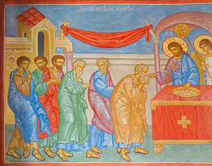 Bruges - Fresco of Communion of the apostle in orthodox church