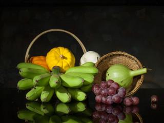 pumpkins and banana and grape