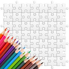 crayons de couleurs sur puzzle à colorier