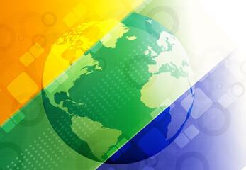 Globe with Brazil flag..