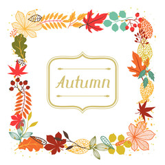 Background of autumn leaves in shape for greeting cards.