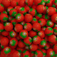 Portugal football balls. 3D render background