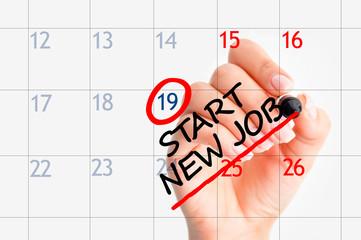 Start new job date in calendar