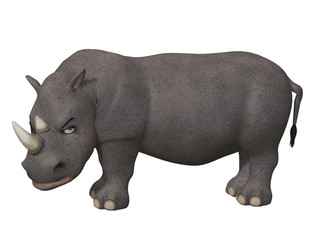 Angry cartoon 3d rhino