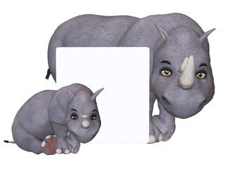 3d cartoon rhino und rhino baby with a blank board
