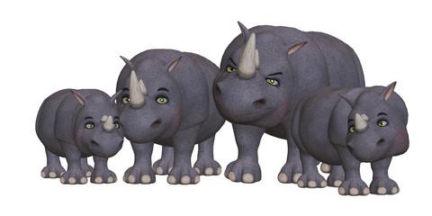 Cartoon rhino family