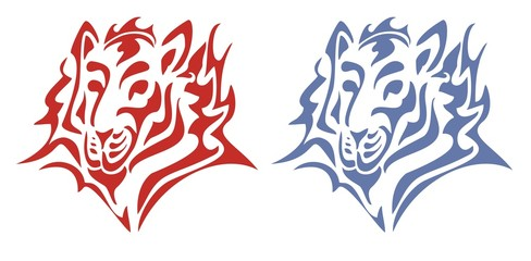 Tribal tiger head. Red and blue on the white