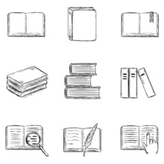 Vector Set of  Sketch Books Icons