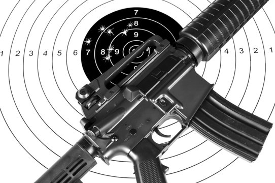 Rifle and shooting target