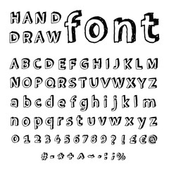 Font, Hand drawn illustration.