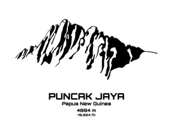 Outline vector illustration of Mt. Puncak Jaya