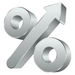 Percent Sign Arrow Up Silver