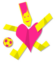 Heart man playing football