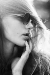 sensual b&w portrait of trendy girl