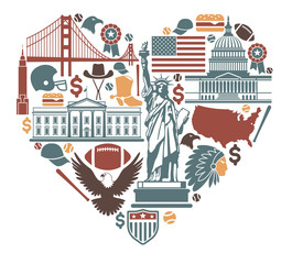 Icons of the USA in the form of heart