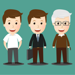 Vector of age progress .boy, businessman and senior man