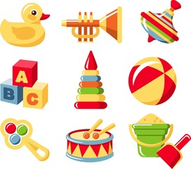 Nine different kind of toys on white background