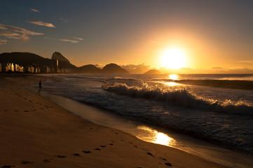Wall Mural - Sunrise in famous Copacabana Beach in Rio de Janeiro