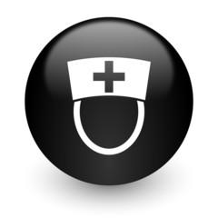 nurse black glossy internet icon