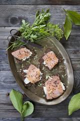 starters with salmon butter seeds lemon on rye bread