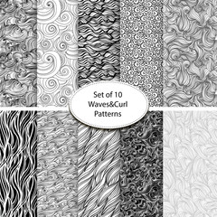 Set of 10 seamless waves and curls backgrounds