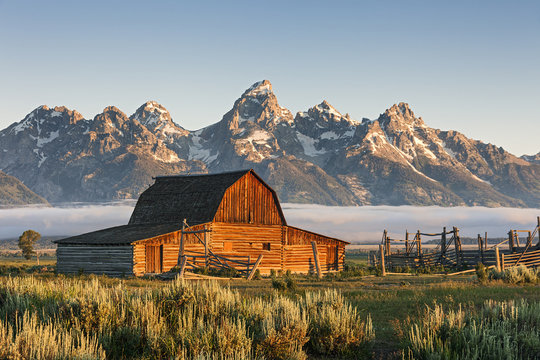 A Sunrise of Moulton Barn in the Grand Teton National Park, WY