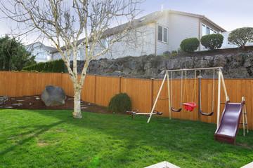 Backyard with playground for kids