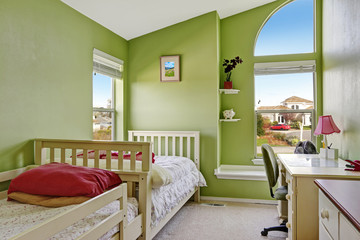 Happy kids room in bright green color