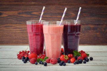 Smoothies with different berries